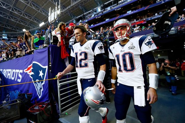 The Patriots face decisions to make with Tom Brady and Jimmy Garoppolo this off-season. (Kevin C. Cox/Getty Images)